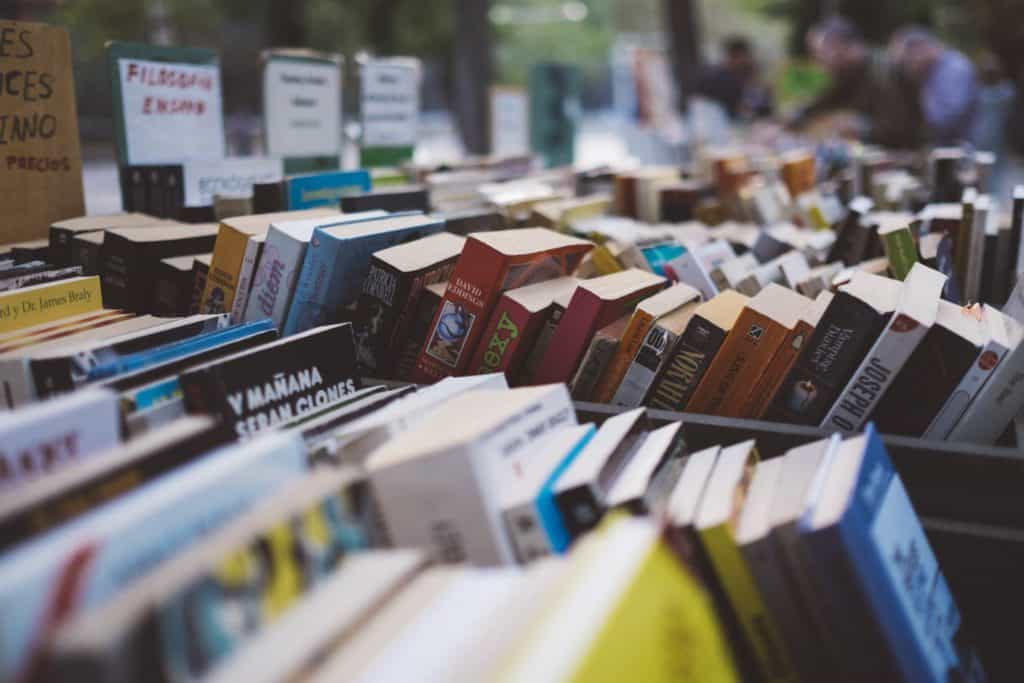 books on sale at a market